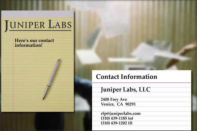 To contact Juniper Labs, please use email, telephone, facsimile (fax) or mail.